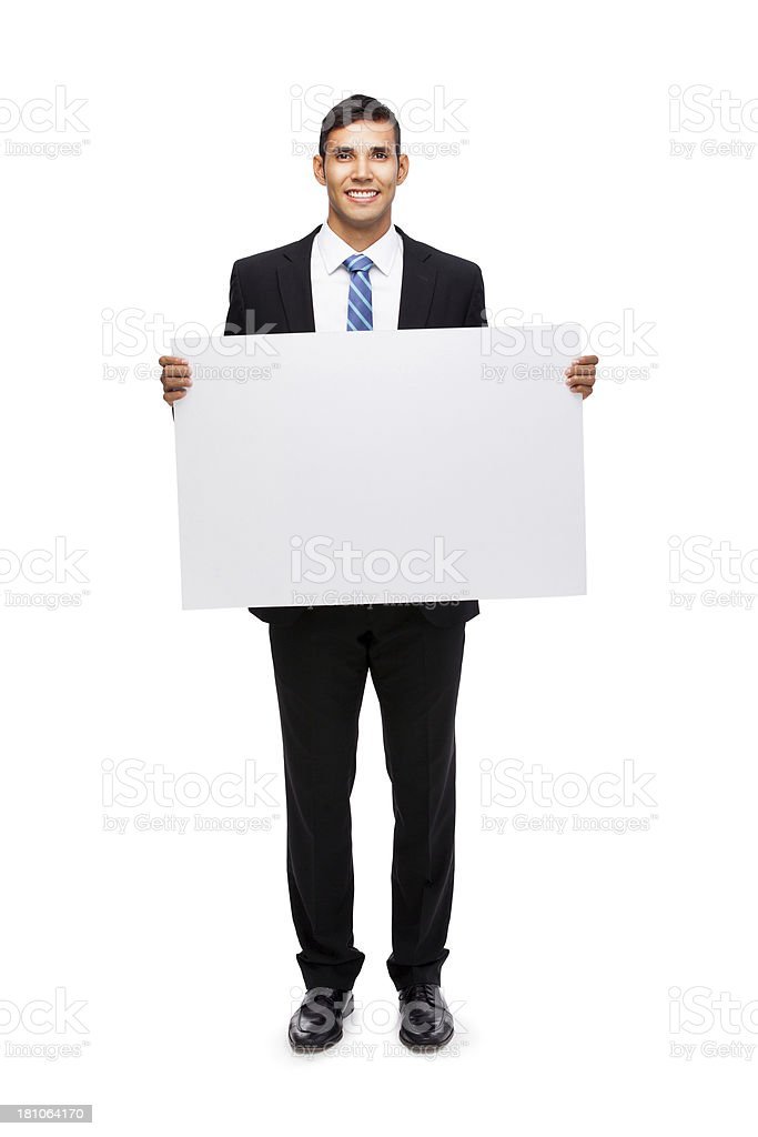 Business person holding a sign royalty-free stock photo