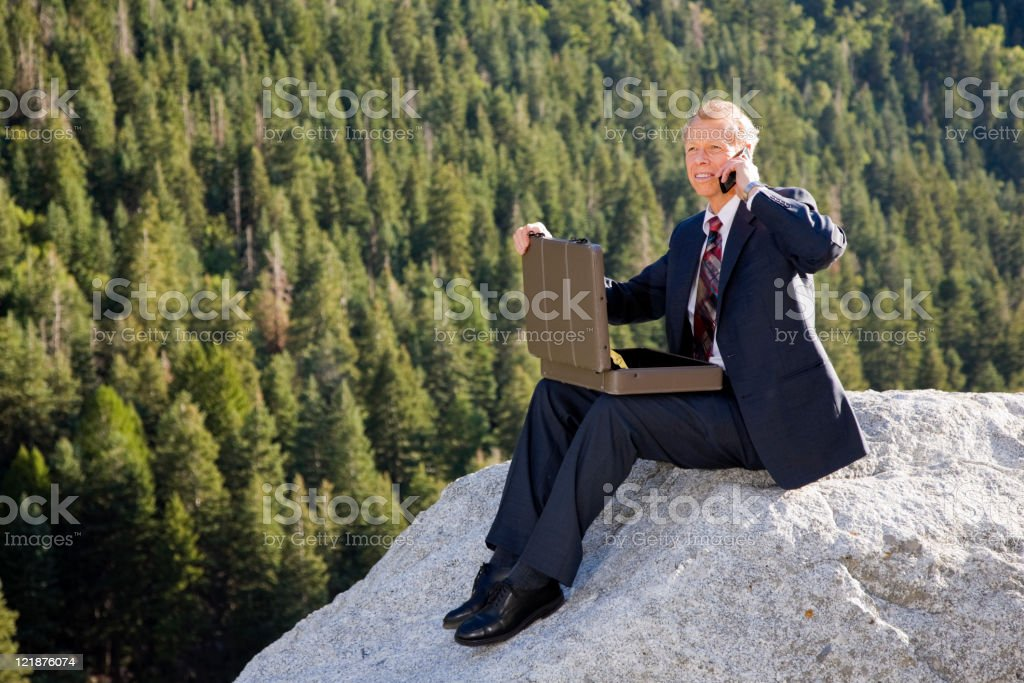 Business Person in Wilderness Area stock photo