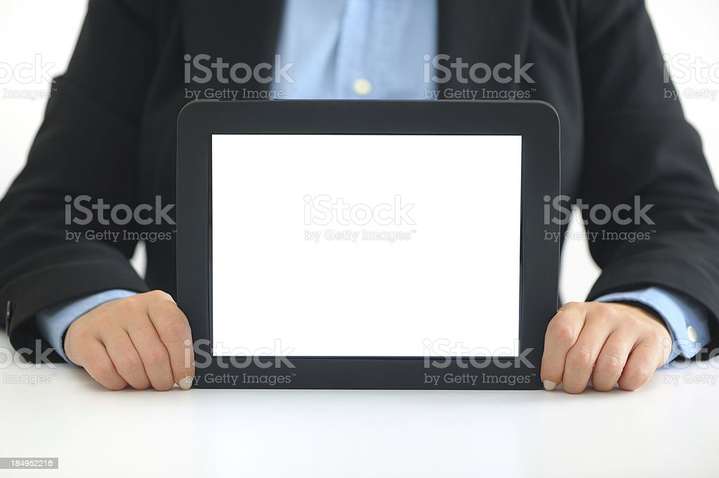 Business person showing blank tablet pc royalty-free stock photo