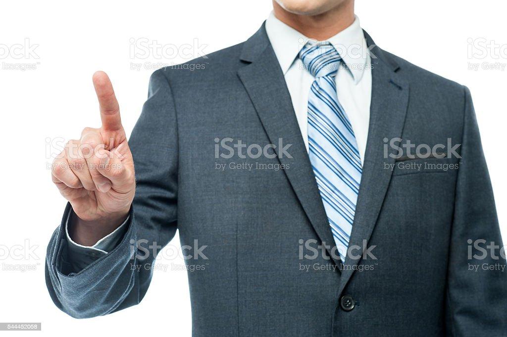 Business person touching virtual screen stock photo