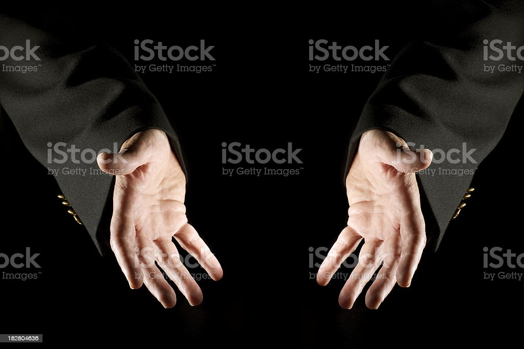 Business Person's Hands Presenting Whatever You Place Between Them stock photo