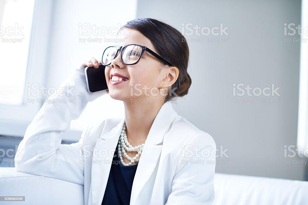 Business phone call stock photo