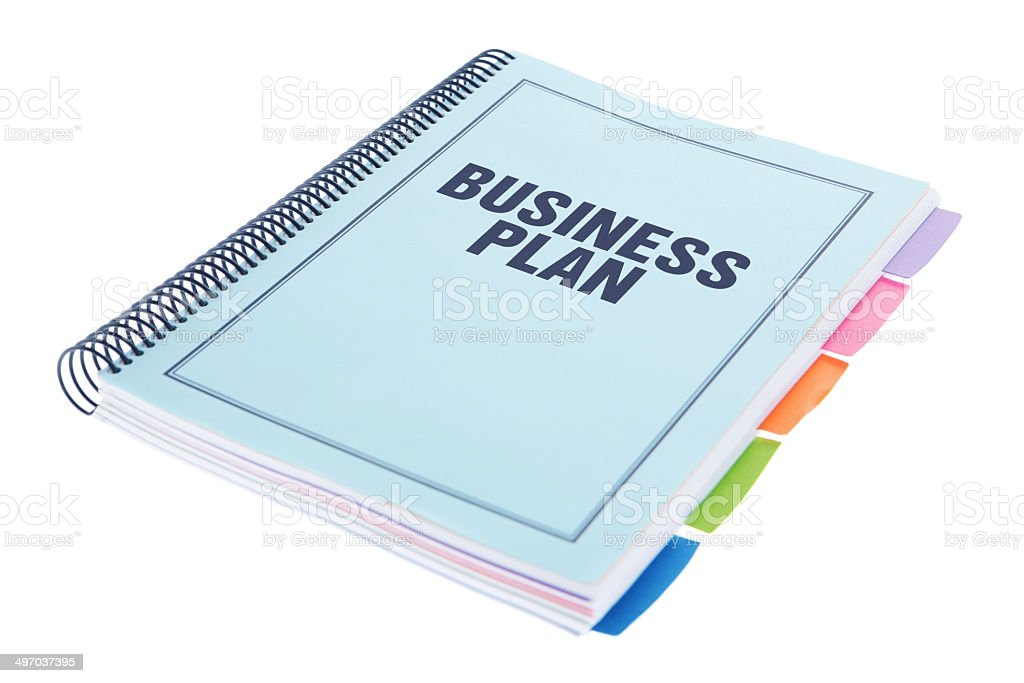 Business Plan - Bound Paperwork Document on White stock photo