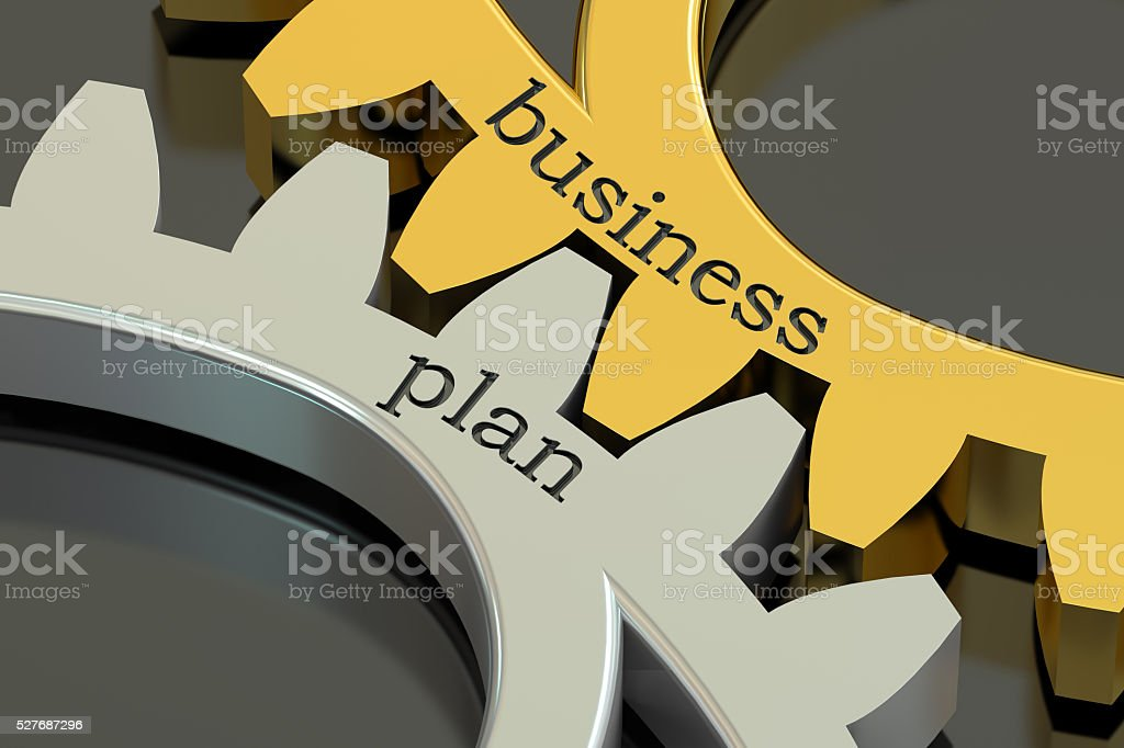 Business Plan concept on the gearwheels, 3D rendering stock photo