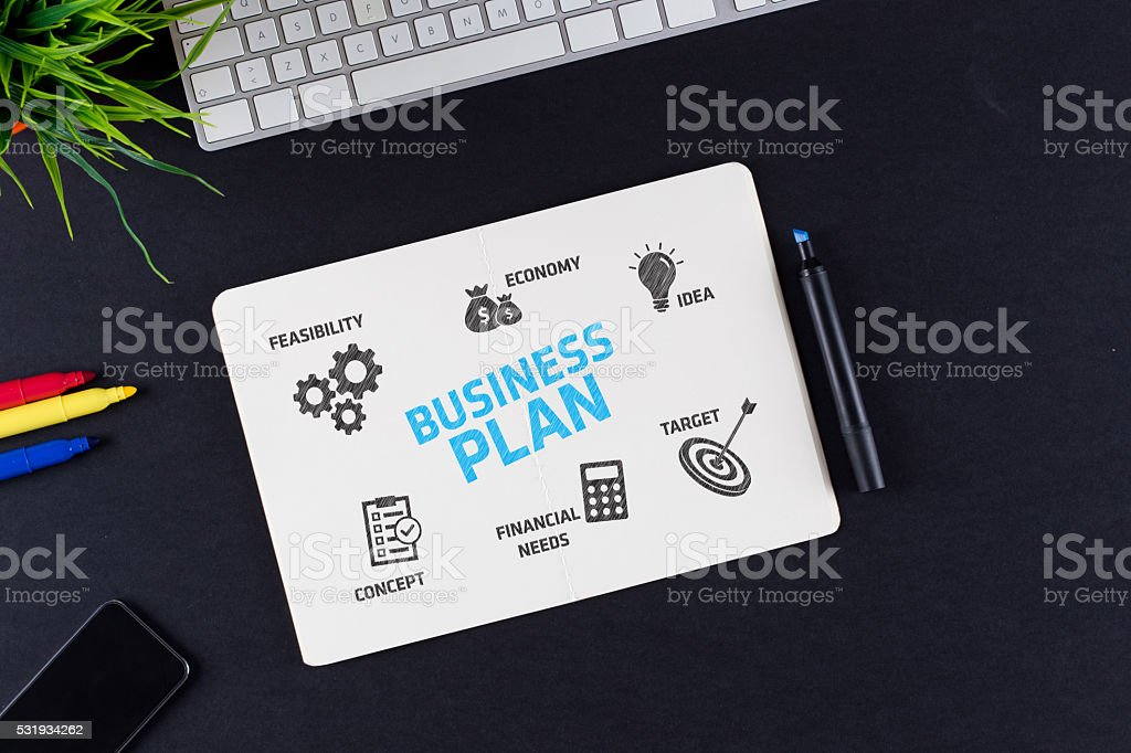 Business Plan Concept with Icons and Keywords stock photo