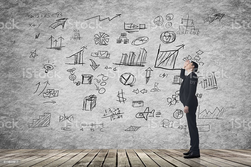 business plan on wall stock photo
