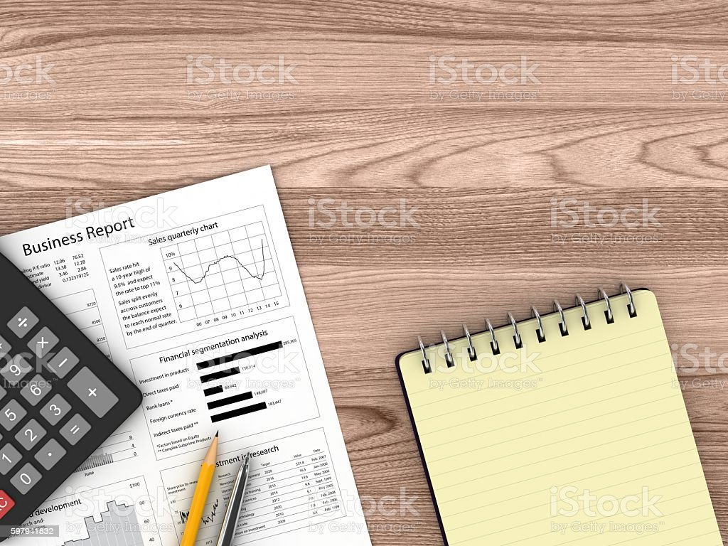 Business plan report wooden desk top view stock photo