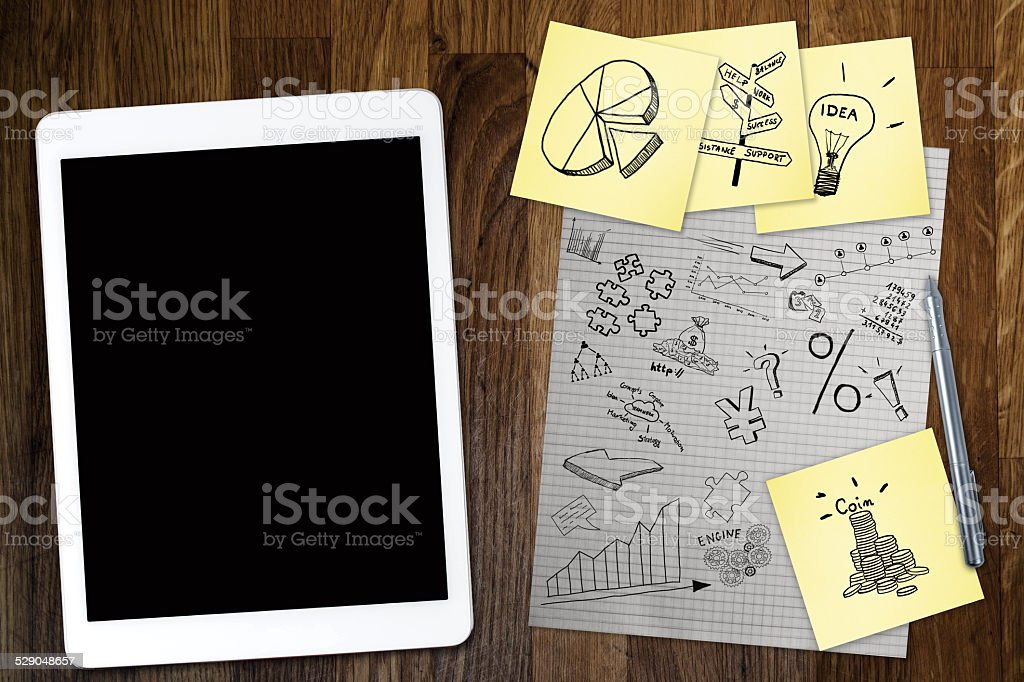 Business plan strategy with touchscreen stock photo