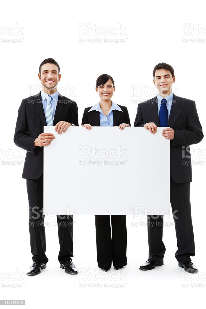 Business pople holding whiteboard royalty-free stock photo