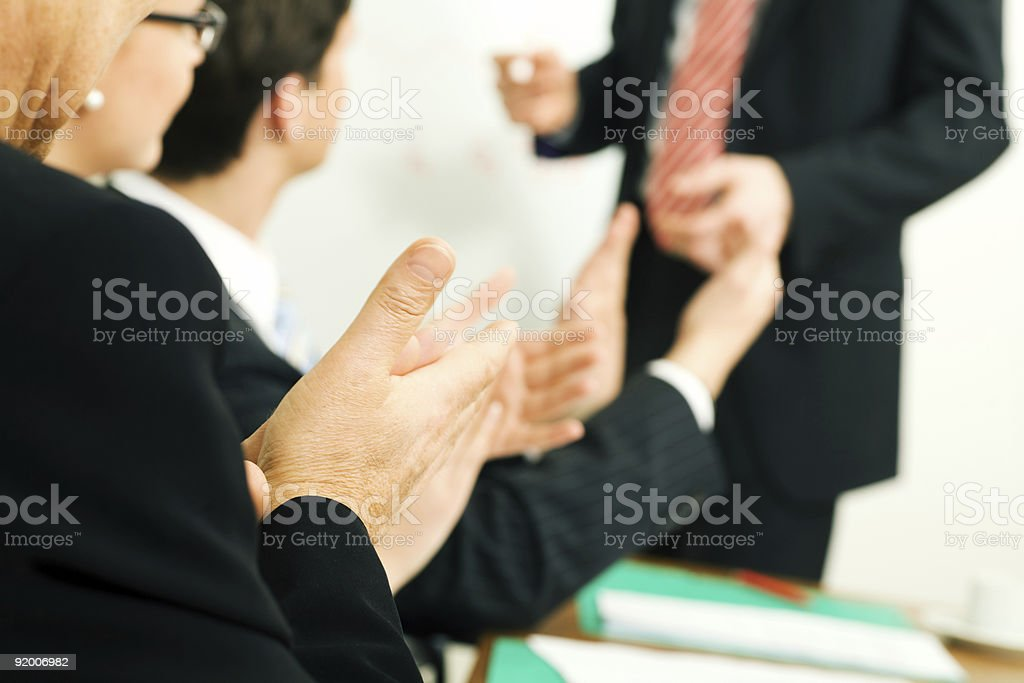 Business presentation: applause royalty-free stock photo