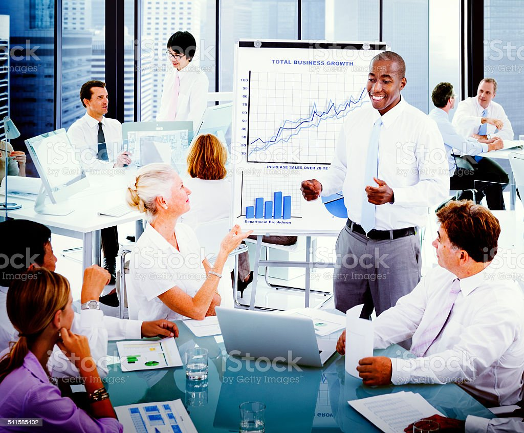 Business Presentation Collaboration Colleagues Concept stock photo