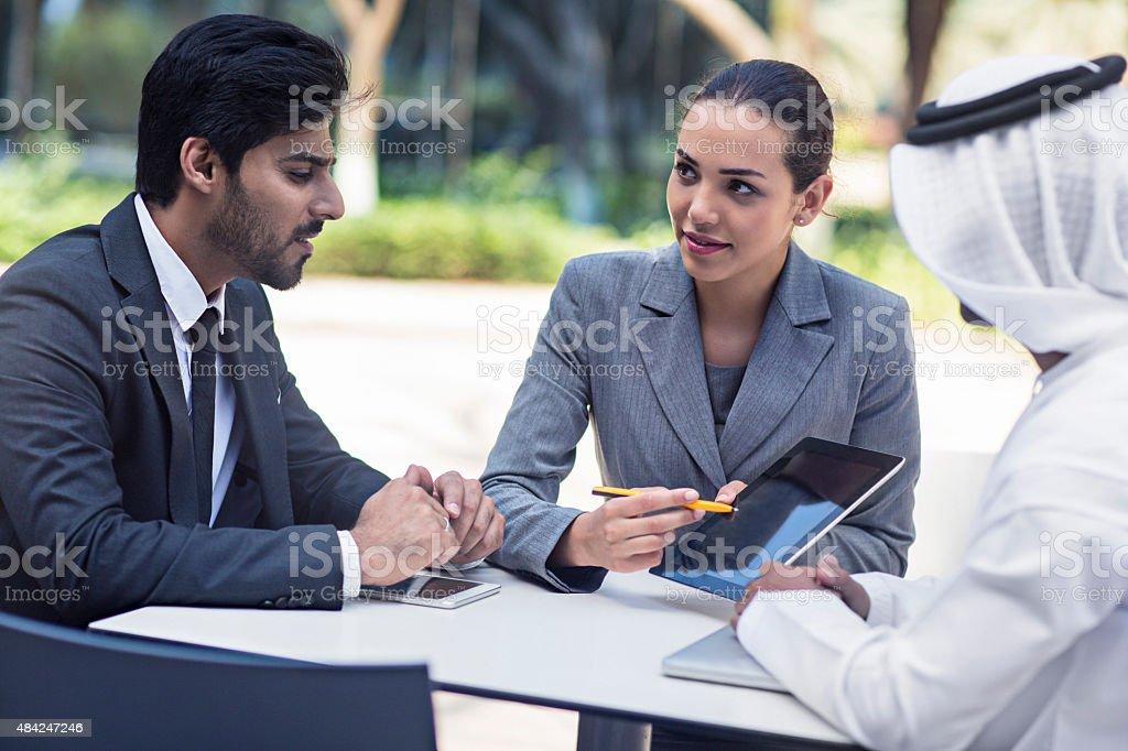 Business presentation in Dubai stock photo