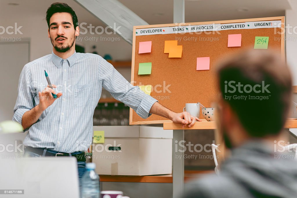 Business Presentation in their Home Office. stock photo