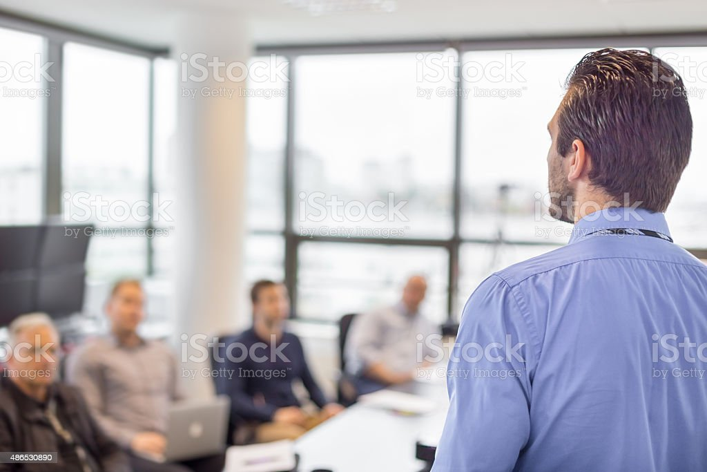 Business presentation on corporate meeting. stock photo