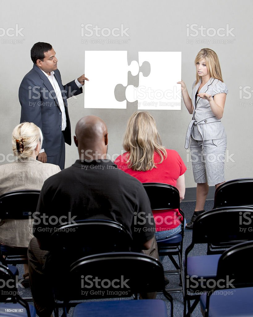 Business Presentation Using Puzzle Piece. stock photo