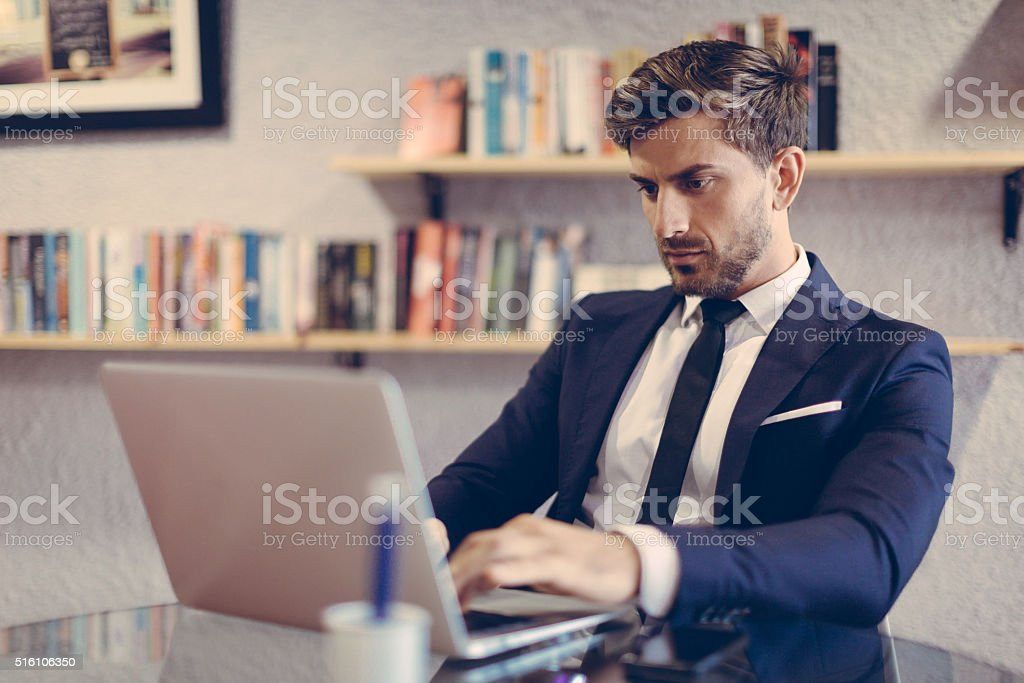 Business Professional Working on his laptop stock photo