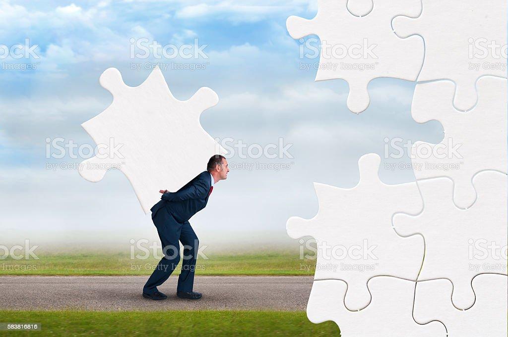 business puzzle concept stock photo