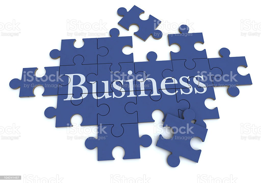 Business puzzle in blue stock photo
