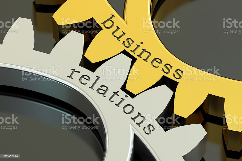 Business Relations concept on the gearwheels, 3D rendering vector art illustration