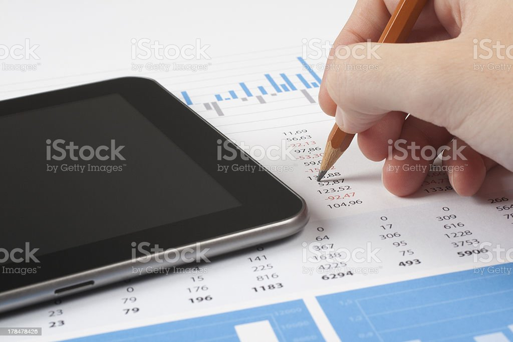 Business report analysis stock photo