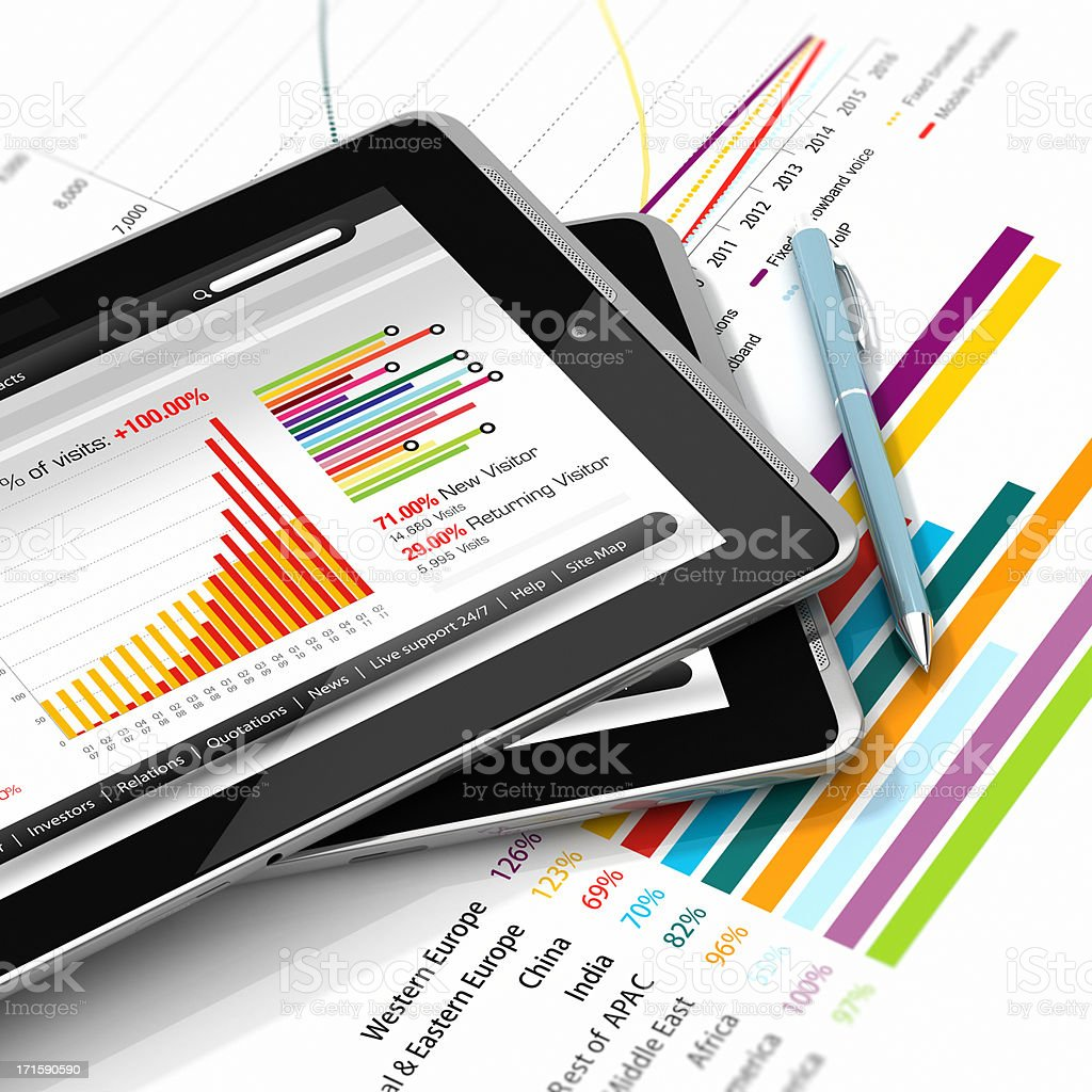 Business reports graph stock photo