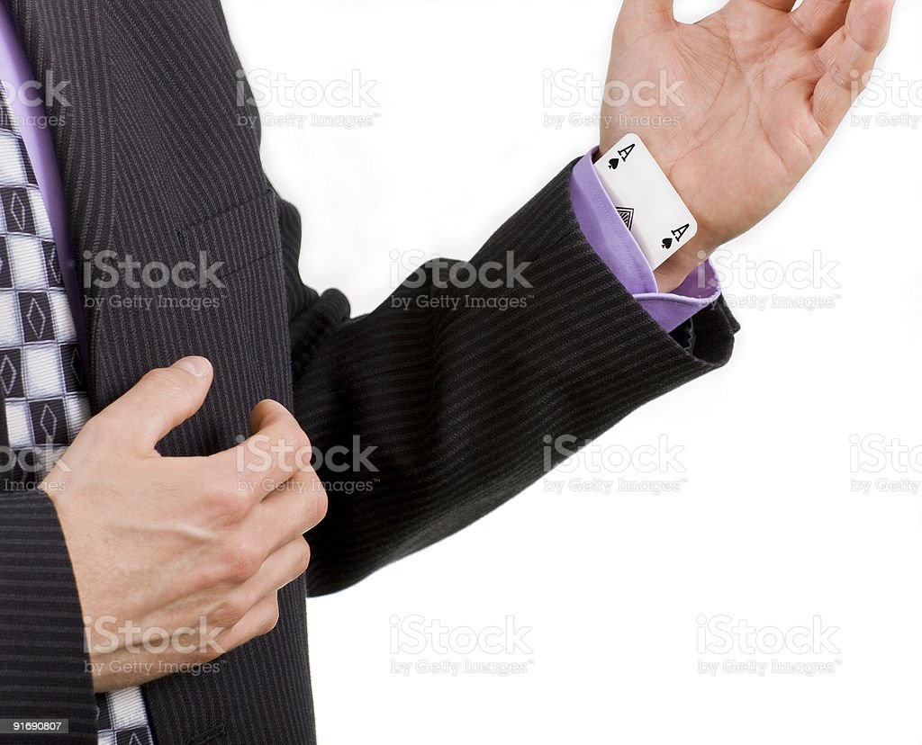 Business sayings, ace up his sleeve royalty-free stock photo