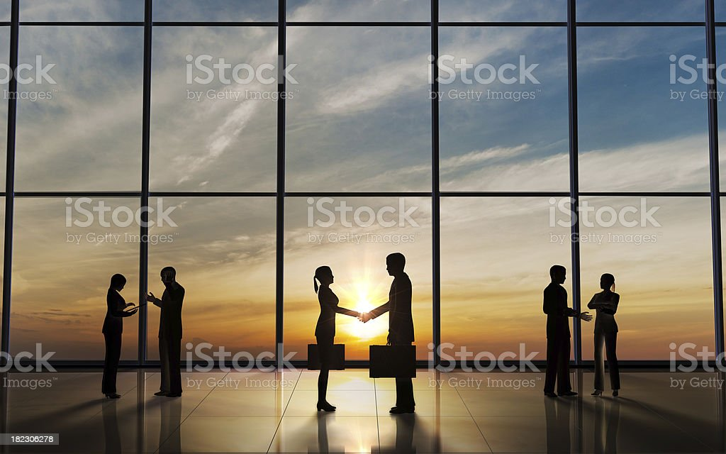 Business shake hand silhouette against a window panel royalty-free stock photo