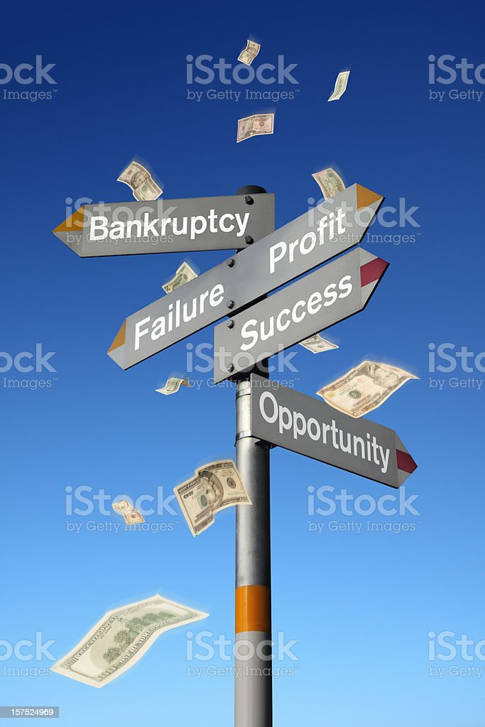 Business Signpost with Falling US Dollar Banknotes royalty-free stock photo