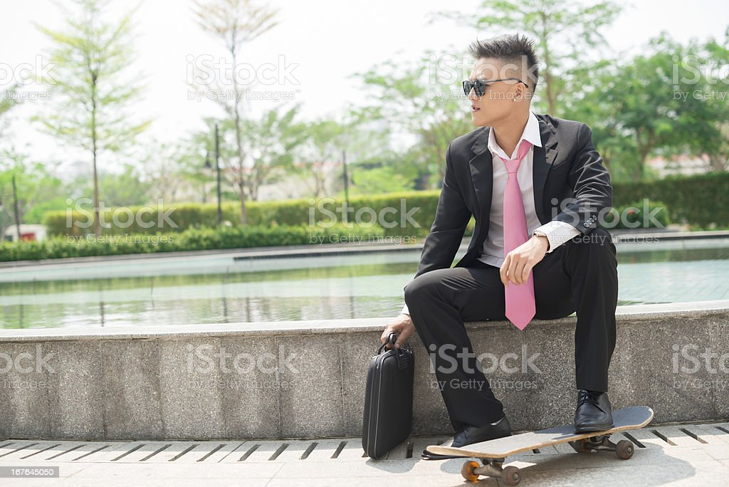 Business skateboarder royalty-free stock photo