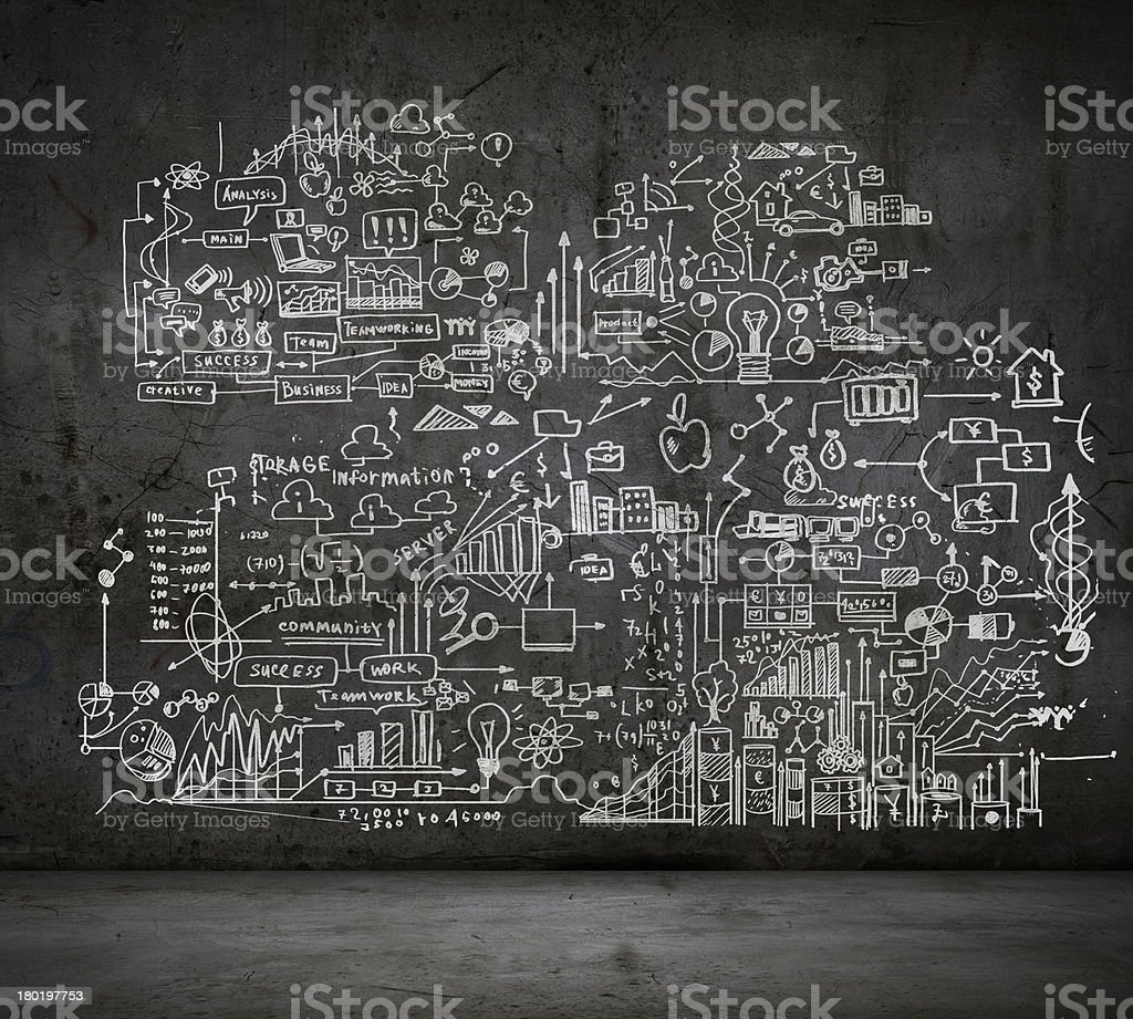 Business sketch on a dark grey wall with grey floor stock photo
