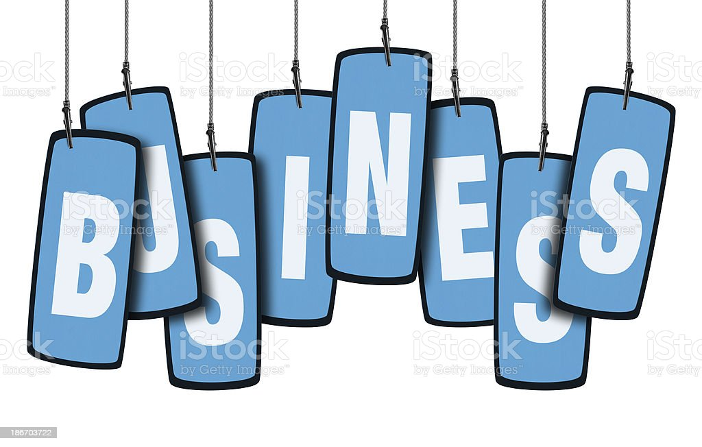 Business Speech Bubble in Wire Clam (Clipping Path) stock photo