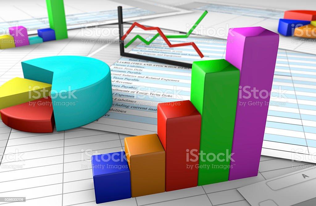 3D Business Spreadsheet stock photo