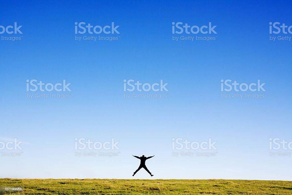 Business star jump stock photo