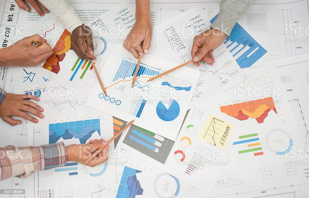 Business statistic documents stock photo