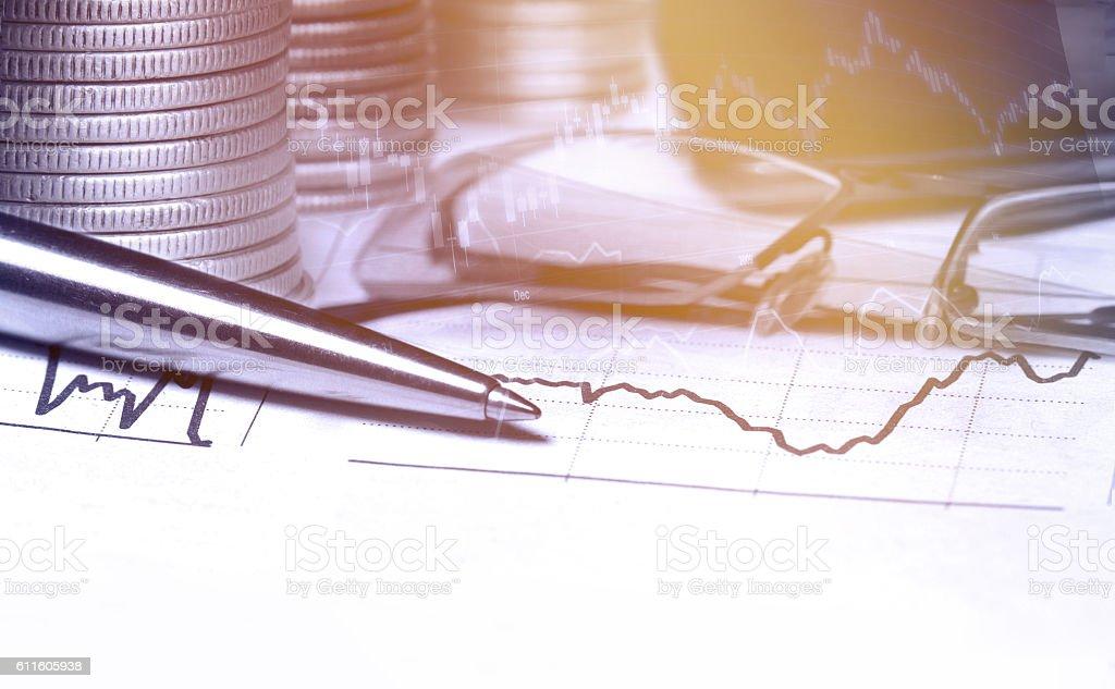 Business statistics and analytics multiple exposure. stock photo