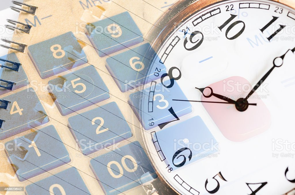 business stil life with clockface close up stock photo