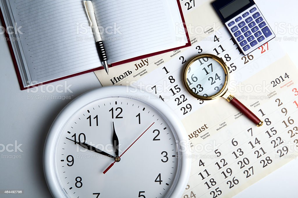 business stil life with clockface stock photo