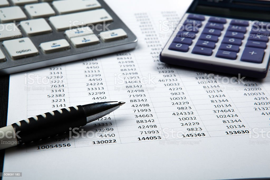 business still life with accounting stock photo