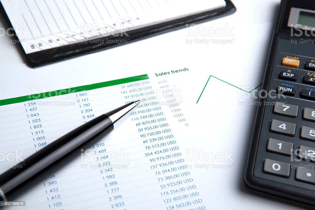 business still-life with calculator stock photo