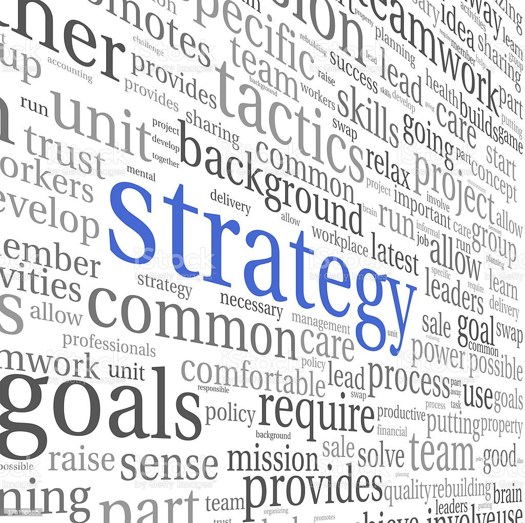 Business strategy concept in word tag cloud stock photo