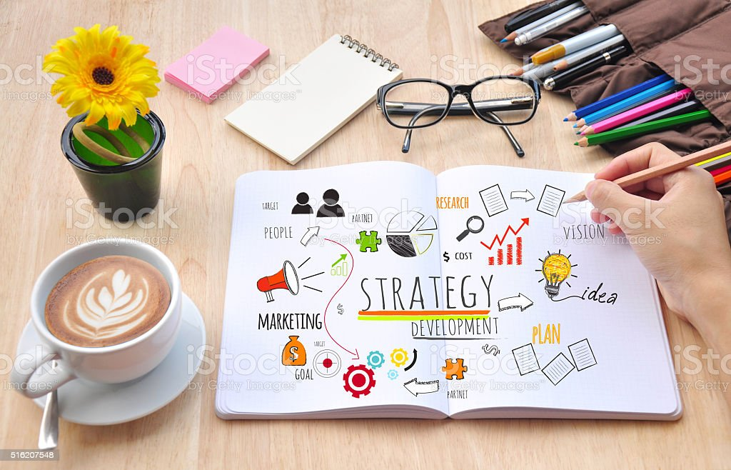 business strategy development concept at the office stock photo