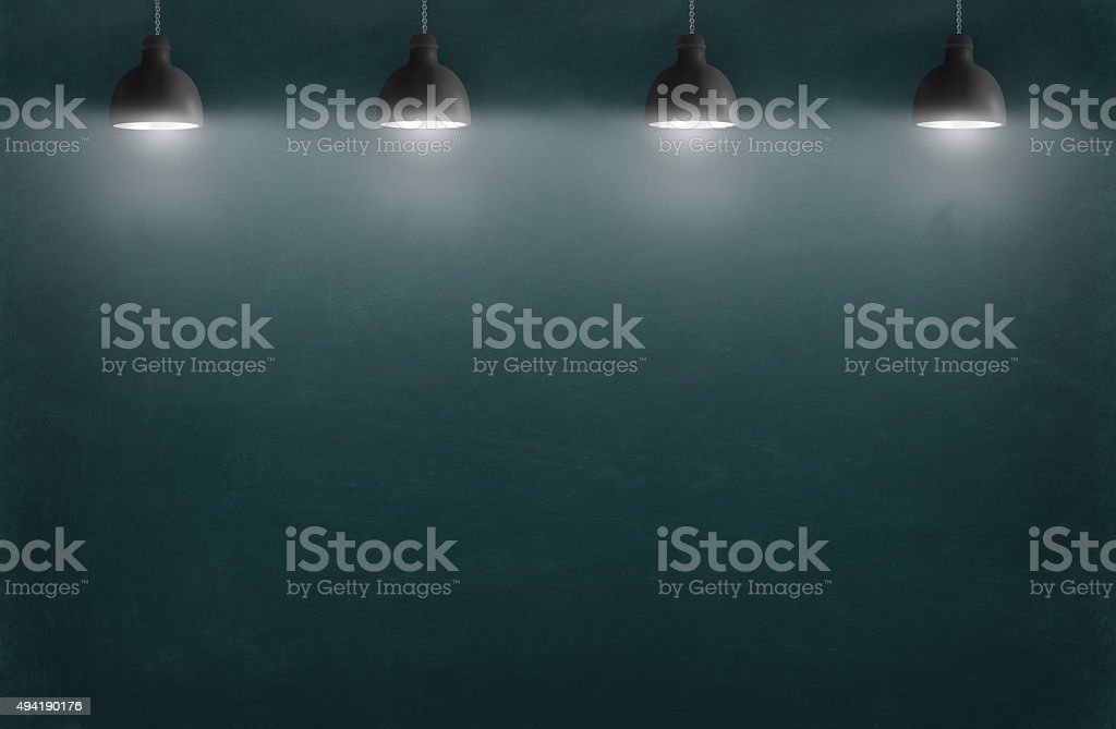 business strategy on the wall with lamp stock photo