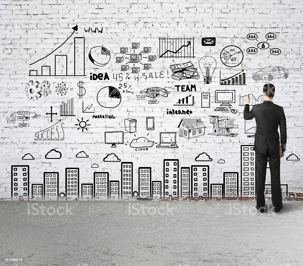 business strategy on wall royalty-free stock photo