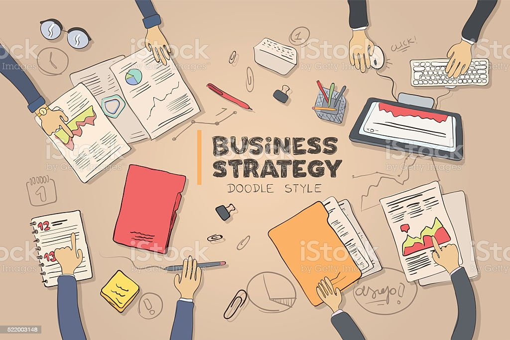 Business strategy picture in doodle style stock photo