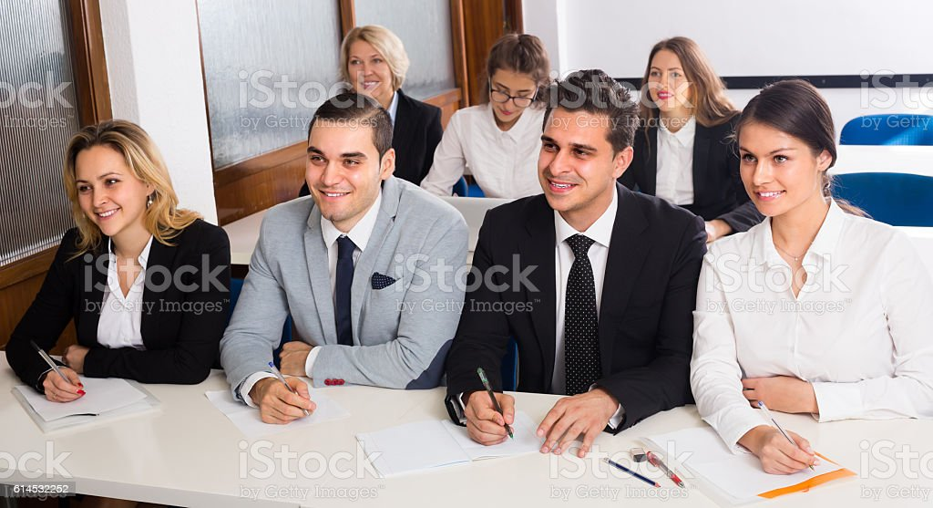 Business students in classroom stock photo
