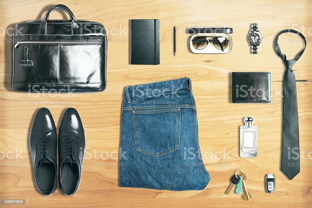 Business stuff on wood stock photo