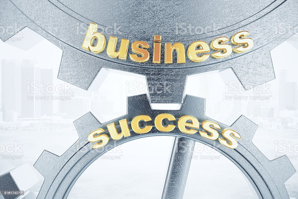 Business success concept with grey gears stock photo