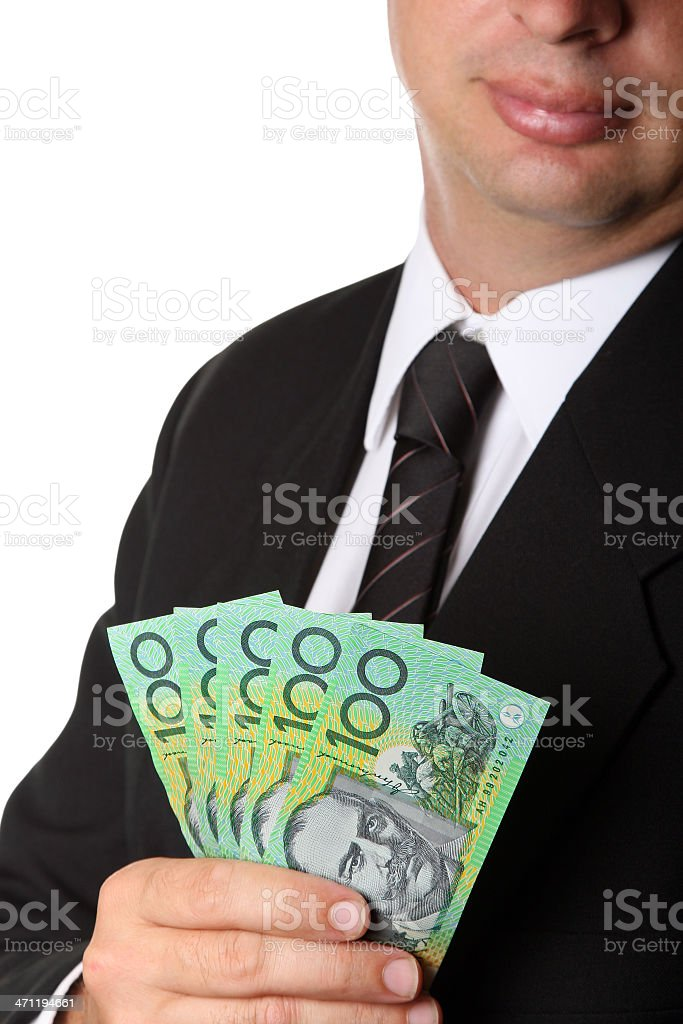 Business Suit and Australian 100 dollar notes money cash royalty-free stock photo