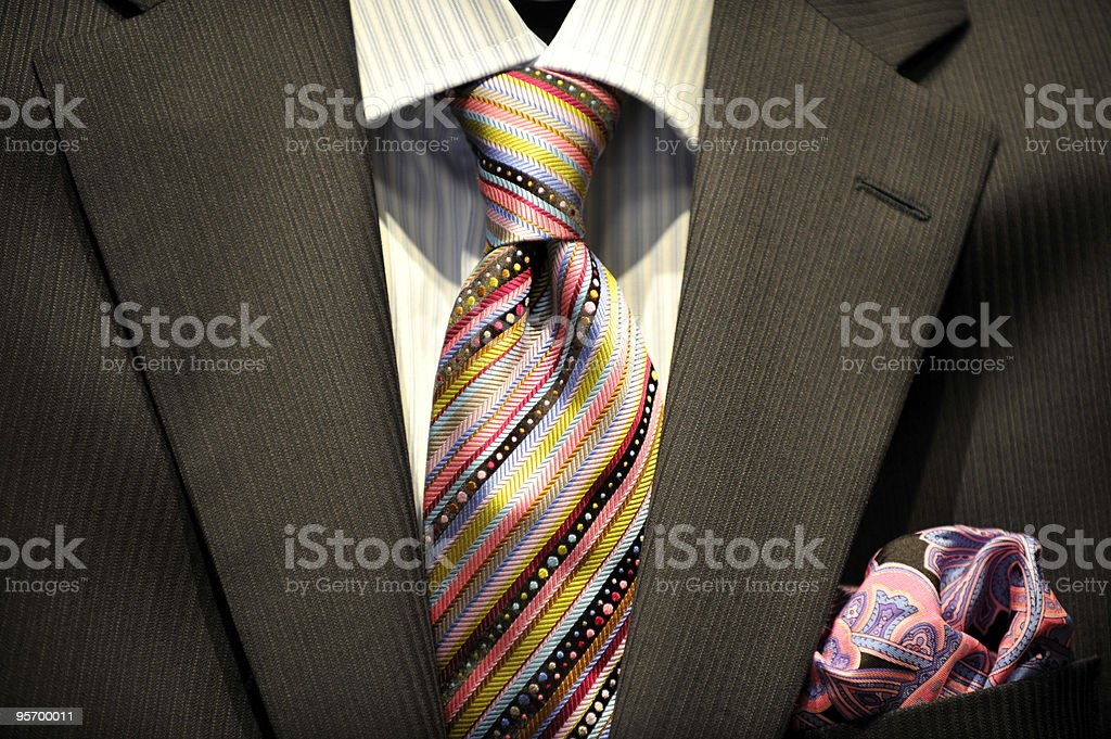 Business suit, tie and paisley puff. royalty-free stock photo