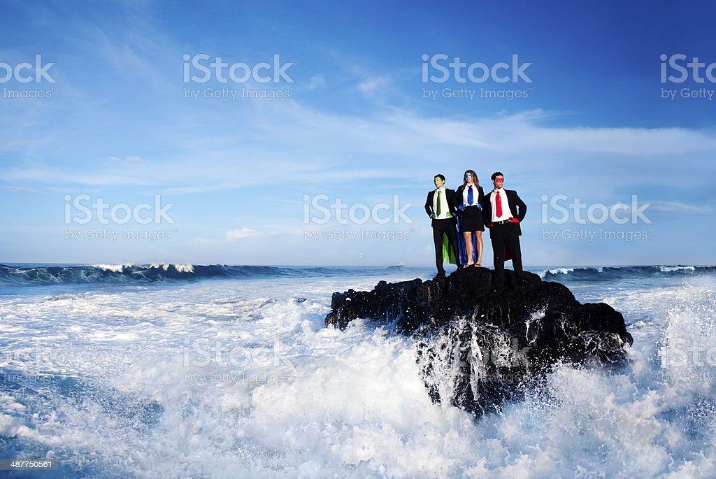 Business Superheros pn The Beach stock photo